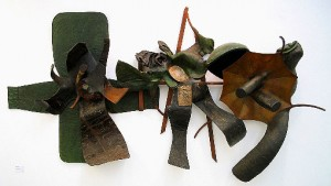 'Triptych' 1988 Wall Based Sculpture  3m x 2m x  1m  Wood, Cloth & Resin
